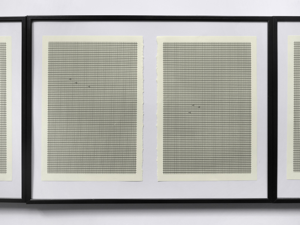 Claude Closky, 'Hi Hi Hi,' 2014, pages 95-99 cut out from 'The Drawer' (Paris) volume 7, 3 black standard frames (one 29,7 x 21 cm, two 30 x 40 cm), 31 x 104 cm.